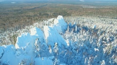 Around panorama mountain Caps in the Urals in winter day Stock Footage
