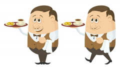 Waiter with Coffee and Buns Seamless Loop Stock Footage