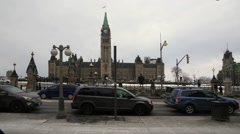 Street traffic and Parliament Stock Footage