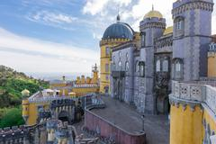 Stock Photo of Pena Palace in Sintra, Portugal. UNESCO World Heritage Site.