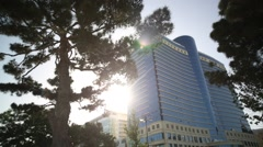 Low angle shot of Park Bulvar and Hilton hotel in Baku Stock Footage