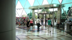 Wide shot of revolving  glass Entrance door of Park Bulvar , Baku Stock Footage