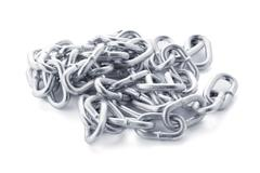 Closeup on silver chain - stock photo