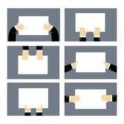 Set hands and white sheet Billboard. Blank paper in  hands of businessman. Ma - stock illustration