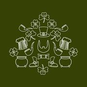 Patricks day. Symbol set fo  holiday in Ireland. Pot of gold and leprechaun b - stock illustration
