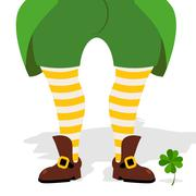 Legs leprechaun and clover. Green frock coat and striped socks. Old shoes mag Stock Illustration