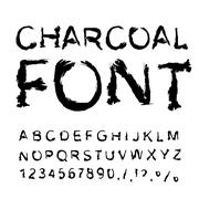 Charcoal font. Letters from charcoal. Black tattered alphabet. Imitate shapes - stock illustration