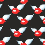 Kiss seamless pattern. Red luscious lips with wings background. Ornament of   - stock illustration