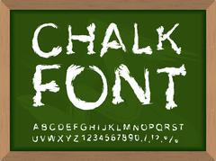 Stock Illustration of Chalk font on blackboard. Write with chalk on  lesson at school. Handwriting