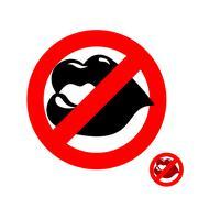 Stop kiss. Forbidden kiss. Frozen juicy womens lips. Emblem against kissing.  - stock illustration