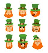 Leprechaun set head. Funny and serious facial leprechauns. Big Red Beard. Gre - stock illustration