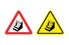 Warning sign cash register. Hazard yellow sign cashier in store. Machine for  Stock Illustration