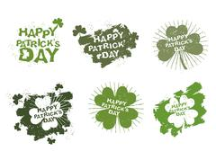 Happy Patricks day logo set in style of grunge. Trace of brush and Shamrock C - stock illustration