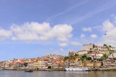 View of Porto Ribeira and Douro river in Porto, Portugal - stock photo
