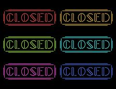 Set of colorful neon Closed signs - stock illustration