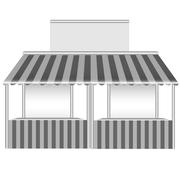 Detailed vector illustration of a stall. - stock illustration