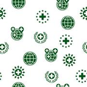 Global Healthcare Seamless Seamless Flat Vector Pattern - stock illustration