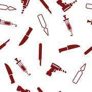 Surgery Tools Seamless Seamless Flat Vector Pattern Stock Illustration
