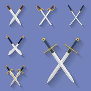 Icon set of ancient swords. Flat style - stock illustration