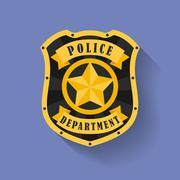 Icon of Police, Sheriff badge. Flat style - stock illustration