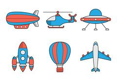 Icon set of aero vehicles. Helicopter plane UFO dirigible aerostat rocket. Li Stock Illustration