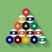 Icon of poll or billiard balls. Flat style Stock Illustration