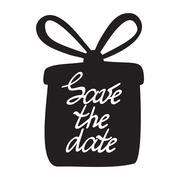 Stock Illustration of Hand drawn poster with the gift or present. Save the date. Hand drawn typogra