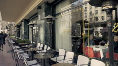 Athens,Voukourestiou street, Zonars historic cafe tracking shot exterior Stock Footage