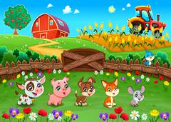 Funny landscape with farm animals - stock illustration