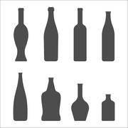 Set of Glass Bottles vector icons. Wine, beer, whiskey, liqueur, champagne an - stock illustration