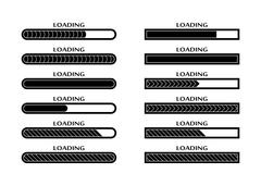Set of Loading, uploading, downloading status bar icons Stock Illustration