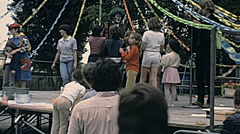 France 1980s: outdoor stage before a children play - stock footage