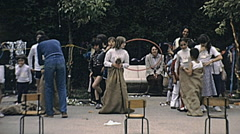Stock Video Footage of France 1980s: gunny sack race