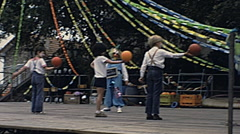 France 1980s: children on stage during an outdoor play - stock footage