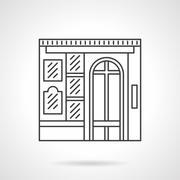 Photo studio facade flat line vector icon - stock illustration
