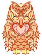 Stock Illustration of Amusing orange beaky owl