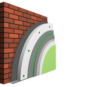 Polystyrene wall insulation 3d scheme - stock illustration