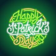 St Patricks Day Glowing Neon Sign Stock Illustration