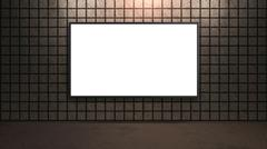 blank white wide screen TV with brown brick wall in room - stock illustration