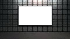 blank white wide screen TV with grey brick wall in room - stock illustration