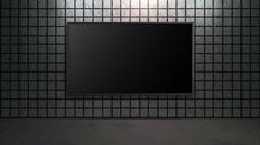 blank wide screen TV with square brick wall in room - stock illustration