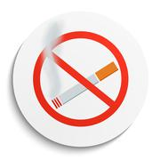 No Smoking Sign on White Round Plate - stock illustration