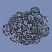 Hand drawn Flower ornament. Doodle style - stock illustration