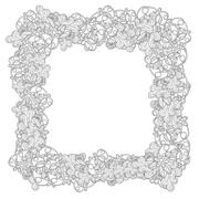 Hand drawn Flower frame or border. Doodle style - stock illustration