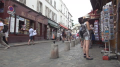 Paris Streets Sacre-Coeur Area Montmartre Romantic Neighborhood Tourist Travel Stock Footage
