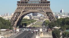 Champ-De-Mars Pont d'Iena Eiffel Tower Area Paris Tourism Famous Symbol Stock Footage