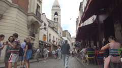 Old Paris Restaurants Montmartre Street Romantic Neighborhood Colorful Facade Stock Footage