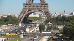 Eiffel Tower Paris Symbol Famous Sightseeing Champ-De-Mars Pont d'Iena Bridge Stock Footage