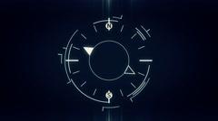 Abstract compass symbol flat animation on dark Stock Footage