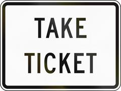 Stock Illustration of United States MUTCD road sign - Take ticket